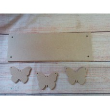 4mm Thick MDF Plaque with butterflies